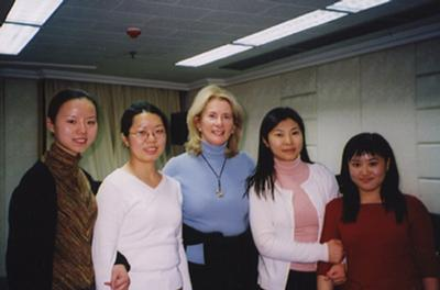 Estela Olevsky with piano students at the Beijing Central Conservatory